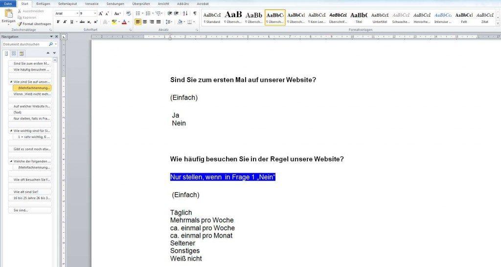 Einen Fragebogen erstellen mit Word und der Befragungssoftware G3plus