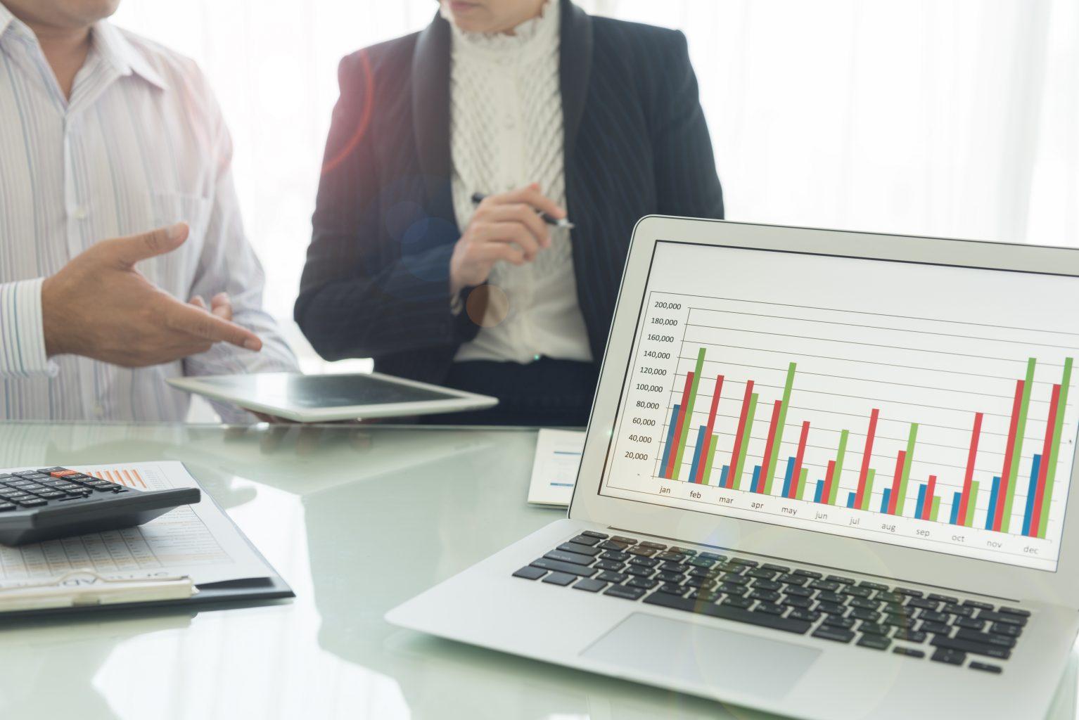 Laptop-Statistiken zu 360Grad Feedback