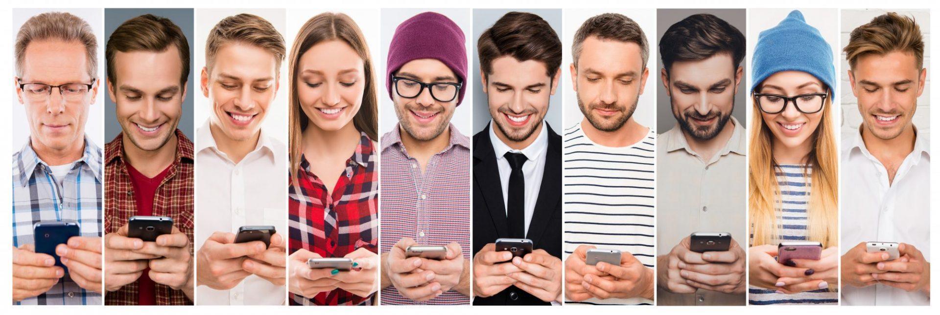 Interne Kundenbefragung Verschiedene Personen mit mobilen Endgeraet