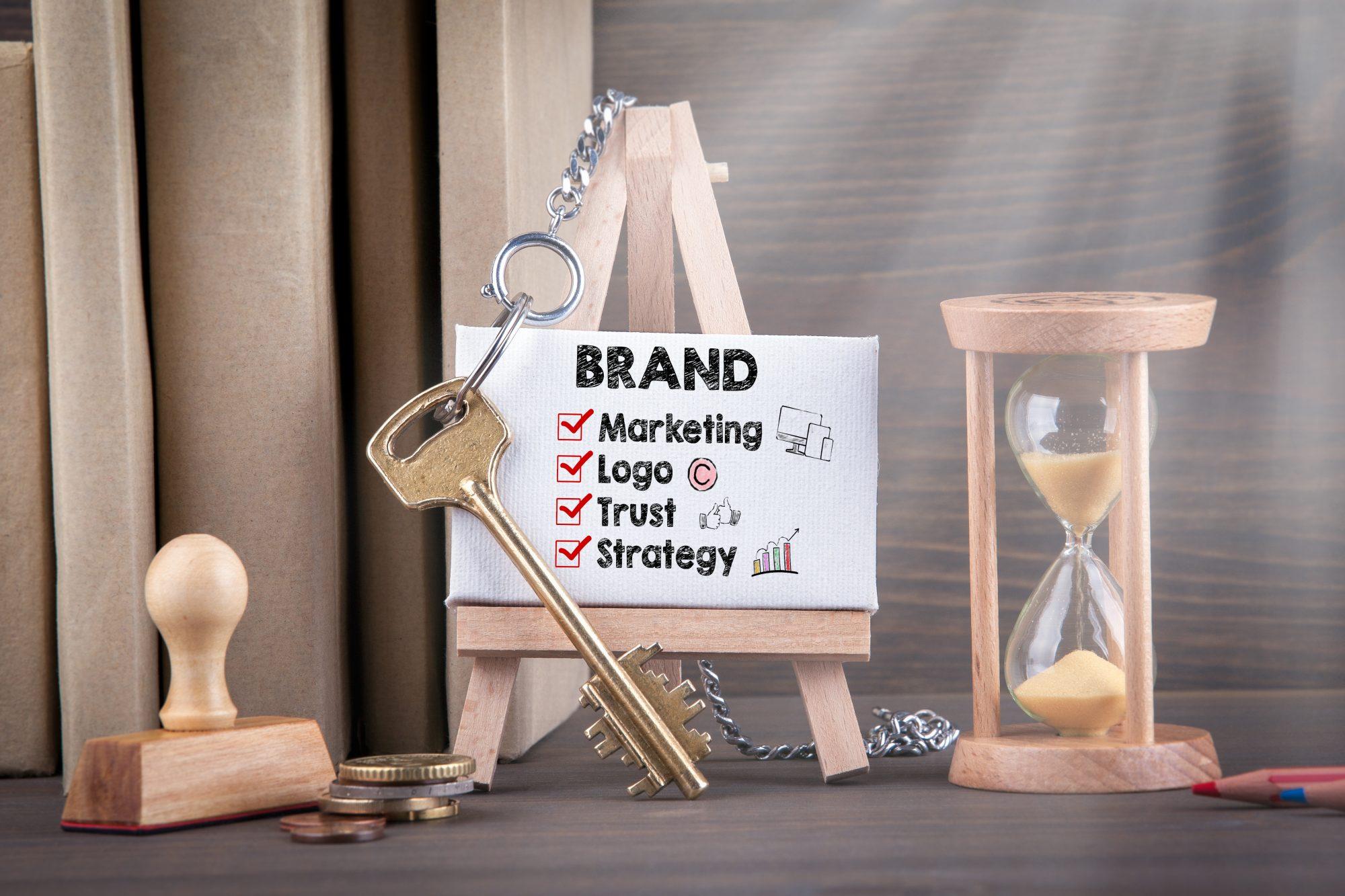 """Markenbekanntheit """"Brand"""" Tafel mit Abhakliste"""