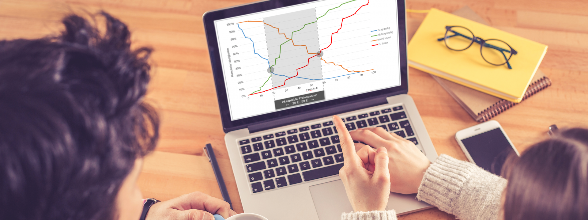 Conjoint Analyse Auswertungsbeispiel Van Westendorp auf Laptop