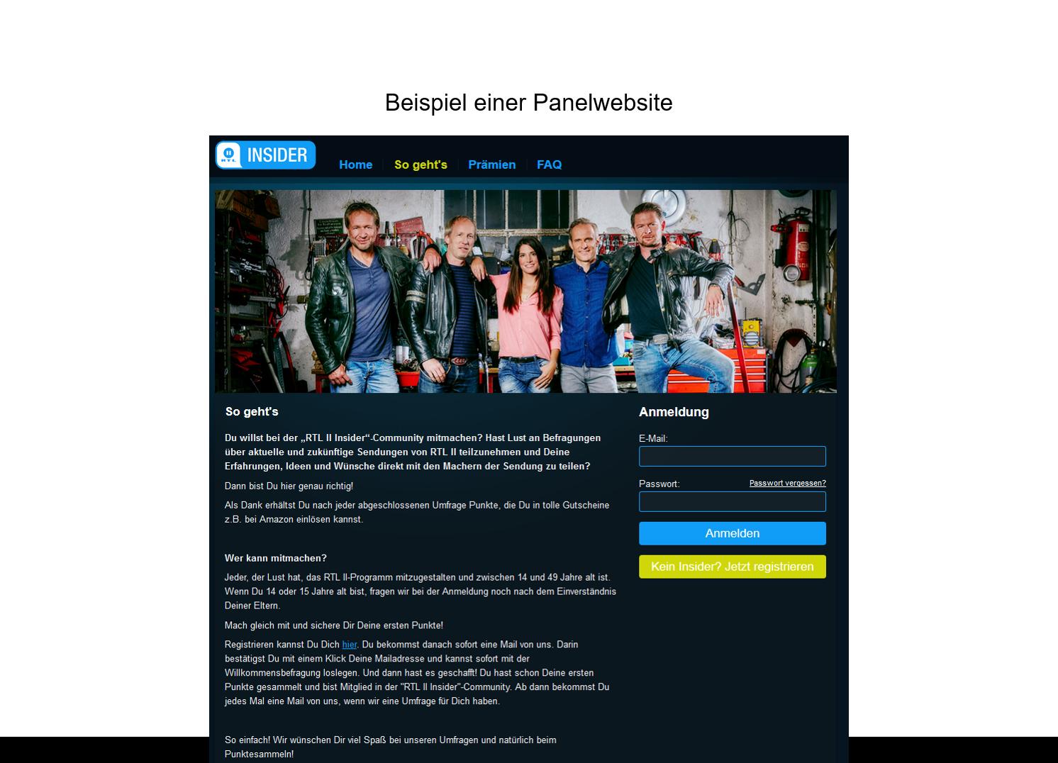 Beispiel Panelwebsite RTL 2 Insider
