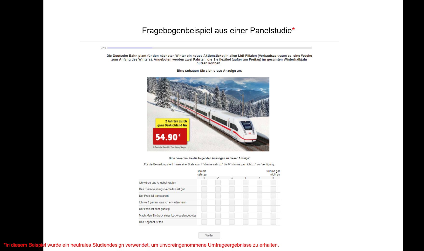 Fragebogenbeispiel aus Panelstudie Deutsche Bahn