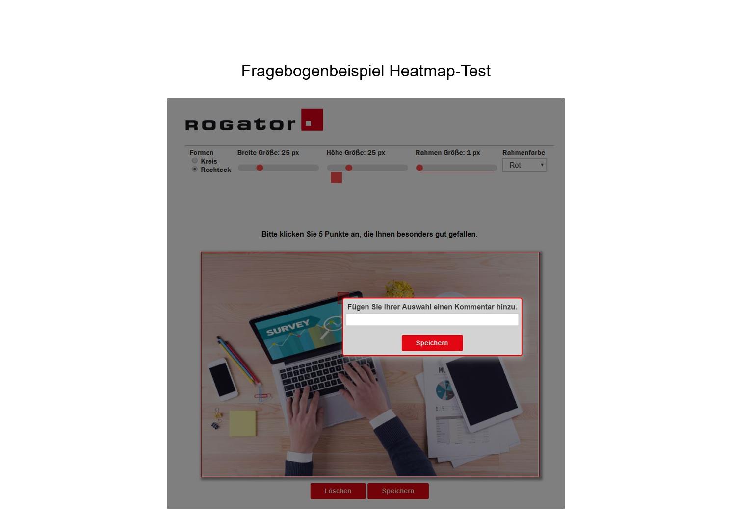"""Heatmap-Test Fragebogenbeispiel Laptop """"Kommentar hinzufuegen"""""""
