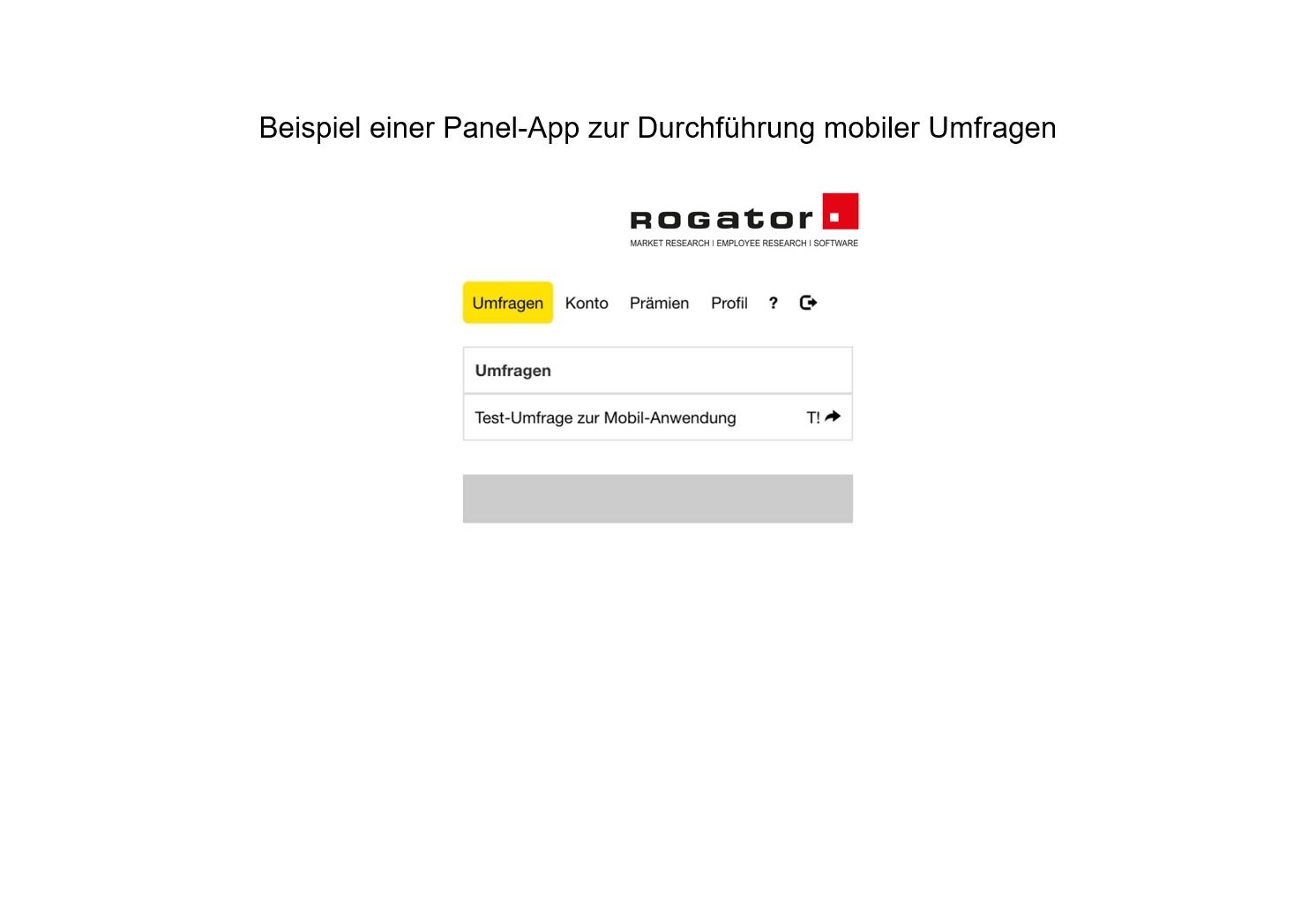 """Beispiel Panel App mobile Umfrage """"Umfragen"""""""