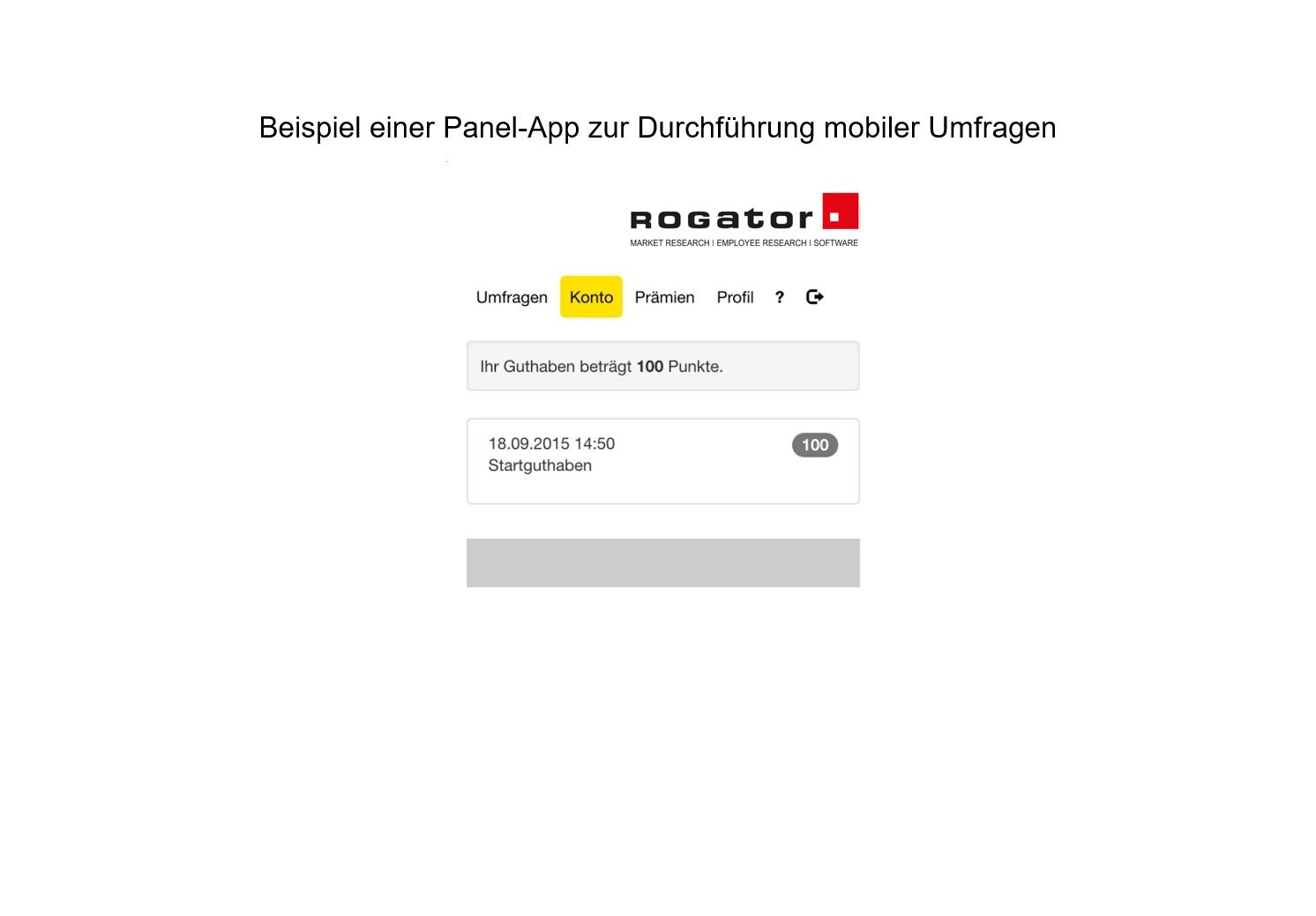 """Beispiel Panel App mobile Umfrage """"Konto"""""""