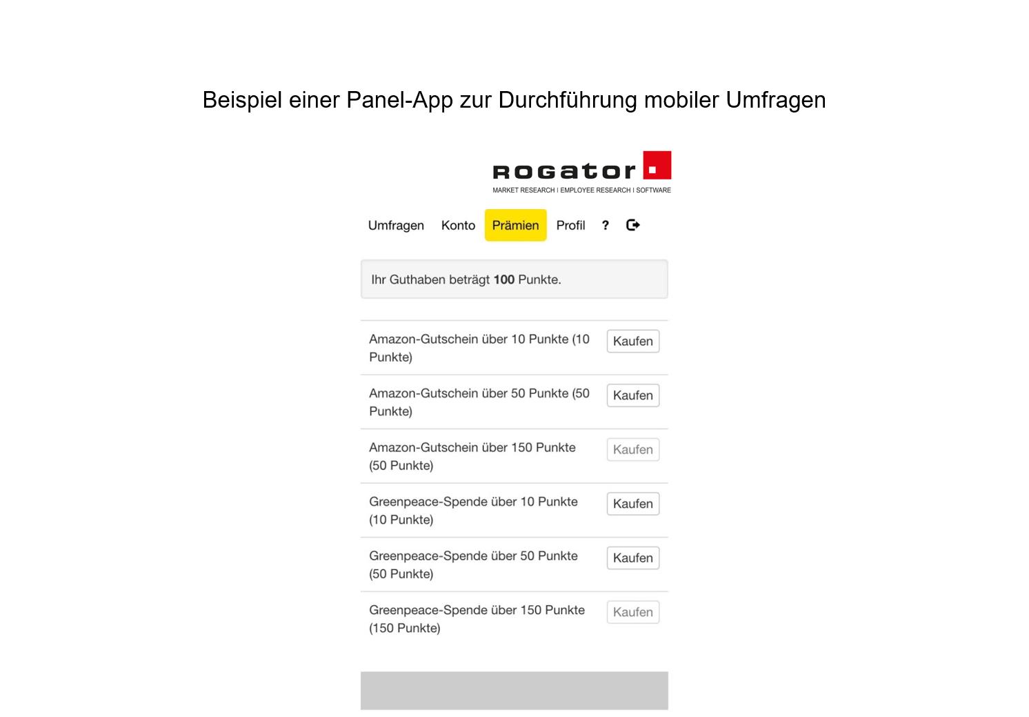 "Beispiel Panel App mobile Umfrage ""Prämien"""