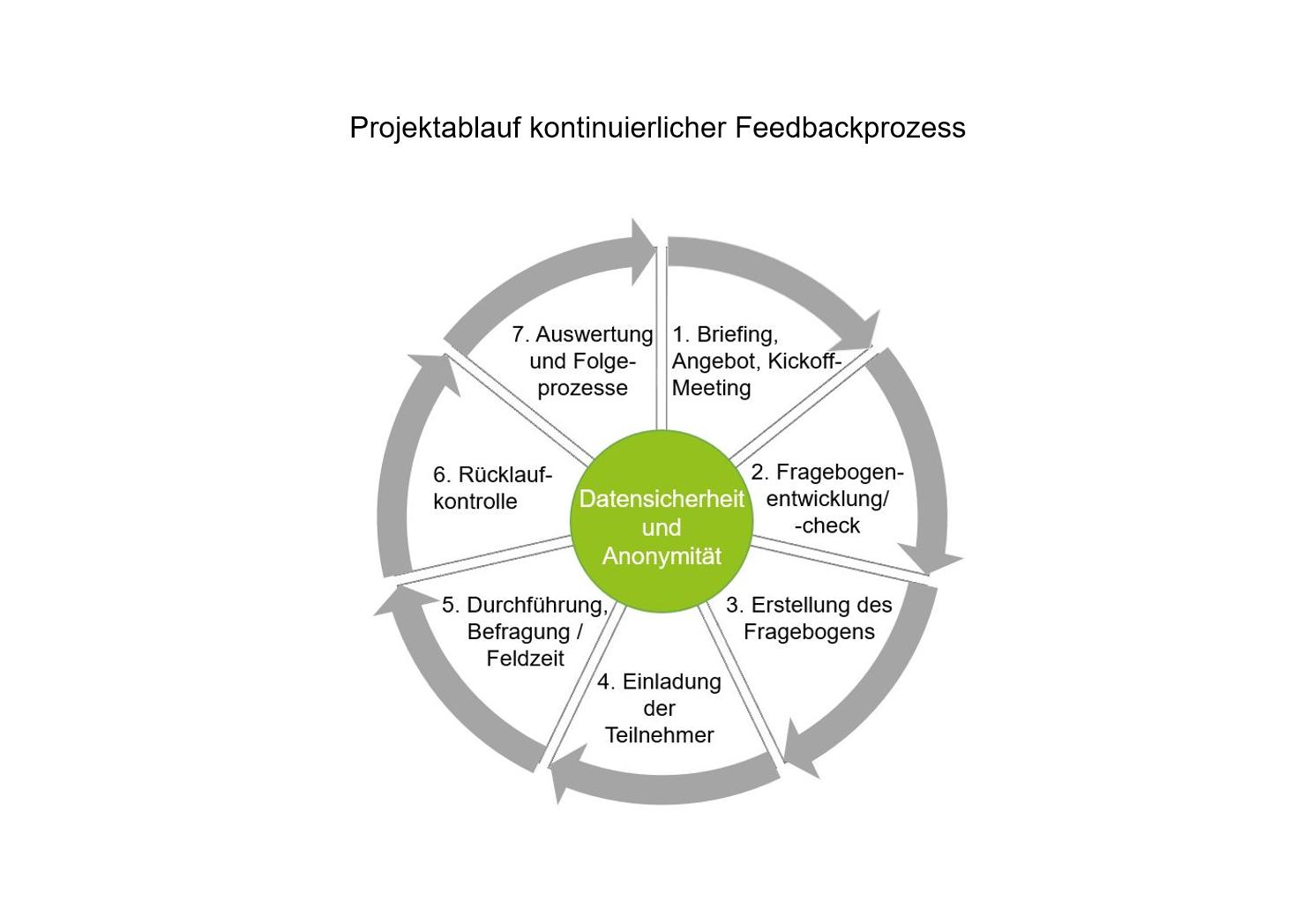Projektablauf kontinuierliche Feedbackprozesse Diagramm