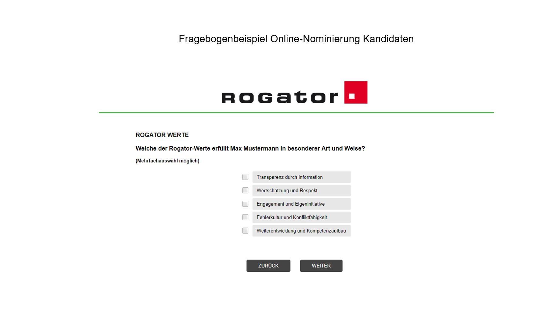 Betriebswahl, Mitbestimmung Fragebogenbeispiel Online-Nominierung Slide 2