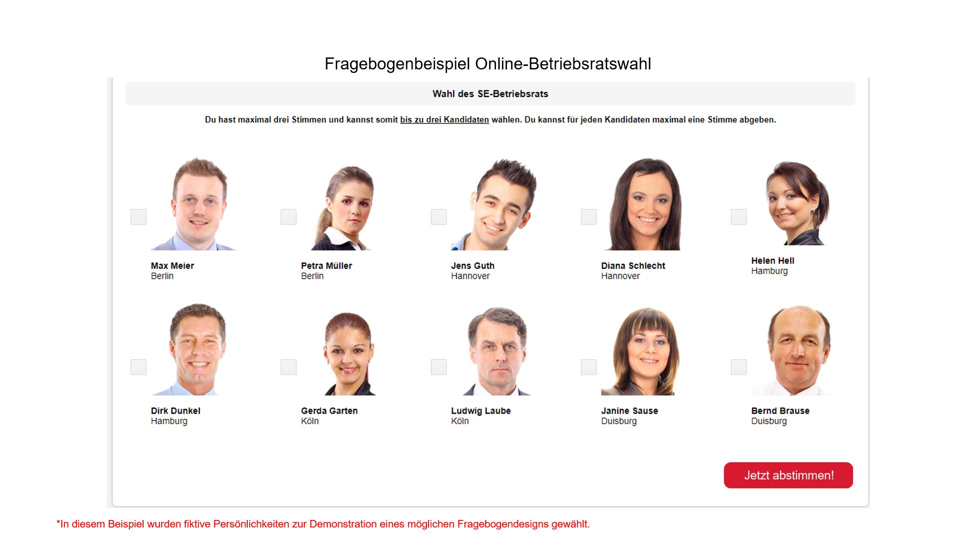 Betriebswahl, Mitbestimmung Fragebogenbeispiel Online-Betriebsratswahl Slide 6