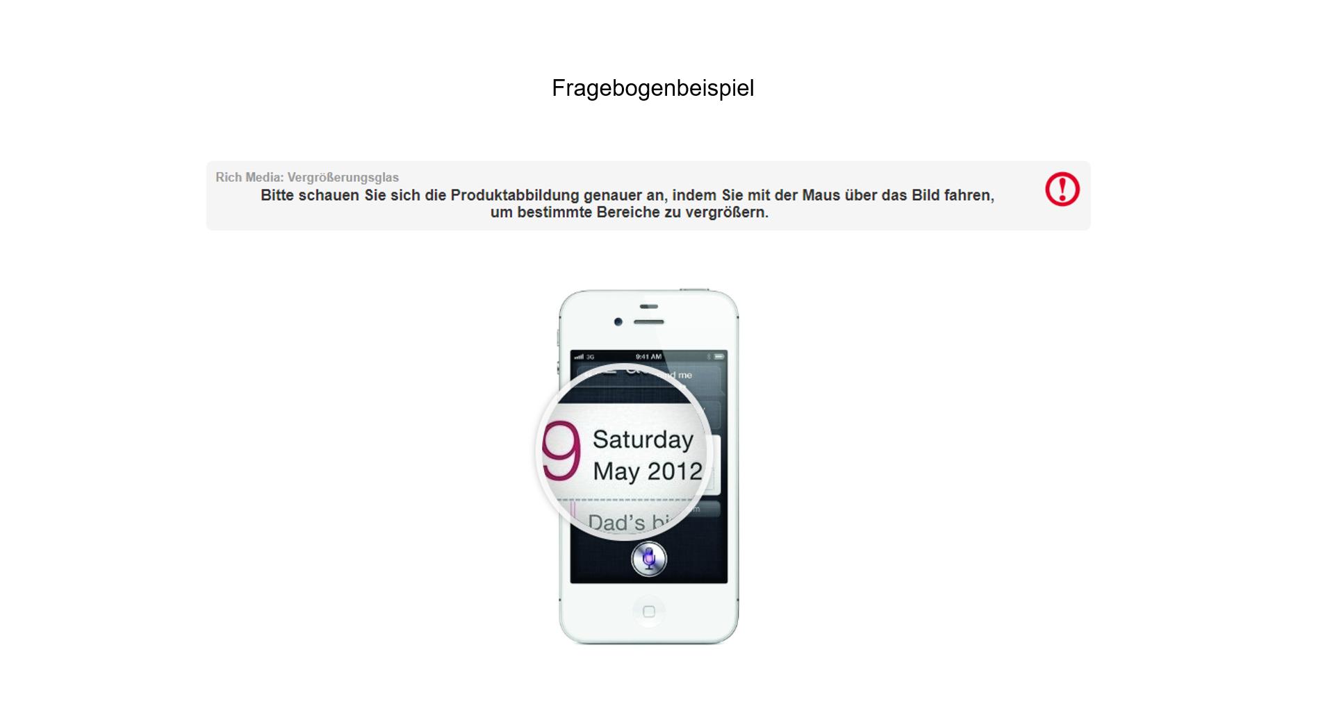 Fragebogenprogrammierung Beispiel Produktabbildung Smartphone