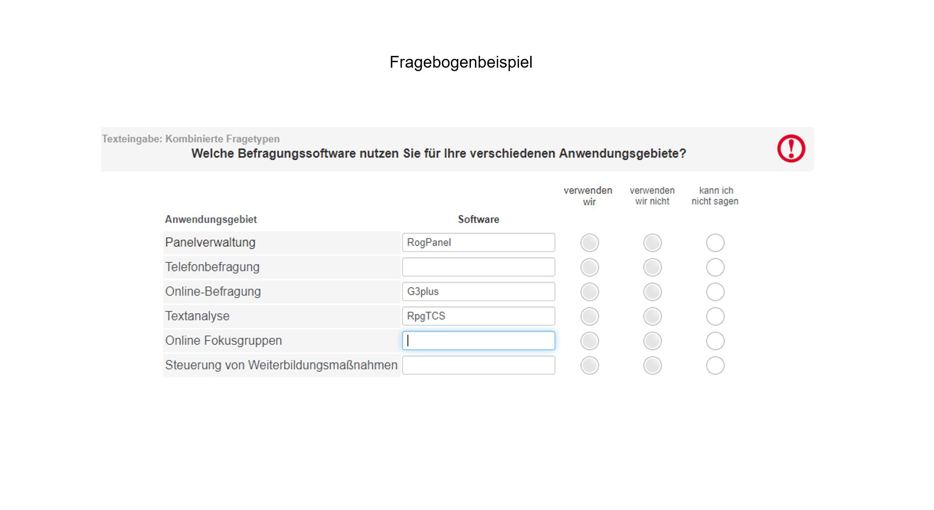 Fragebogenprogrammierung Beispiel Anwendungsgebiete Befragungssoftware