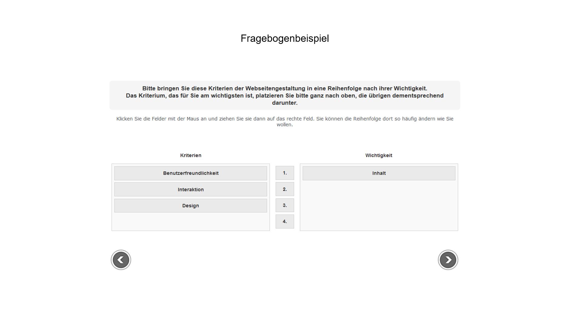 Fragebogenprogrammierung Beispiel Websitengestaltung