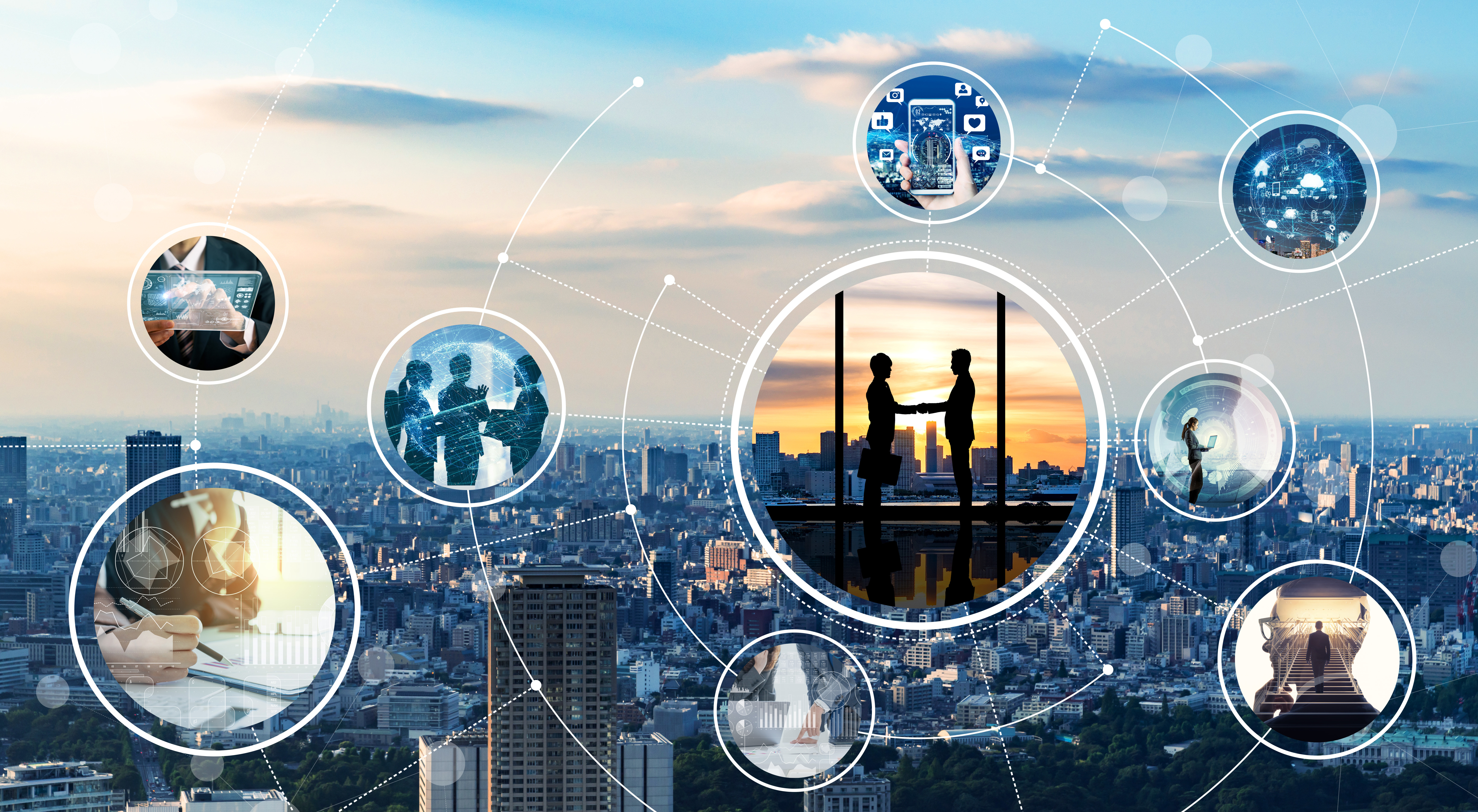Skyline mit abstrakter Businesswelt