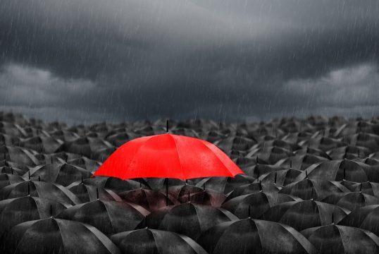 Markenbekanntheit Top of mind roter Schirm im Meer aus schwarzen Schirmen