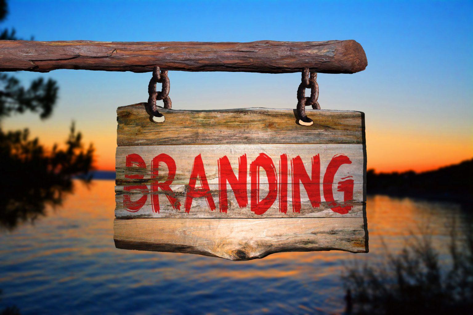 Markenbekanntheit Branding Schild