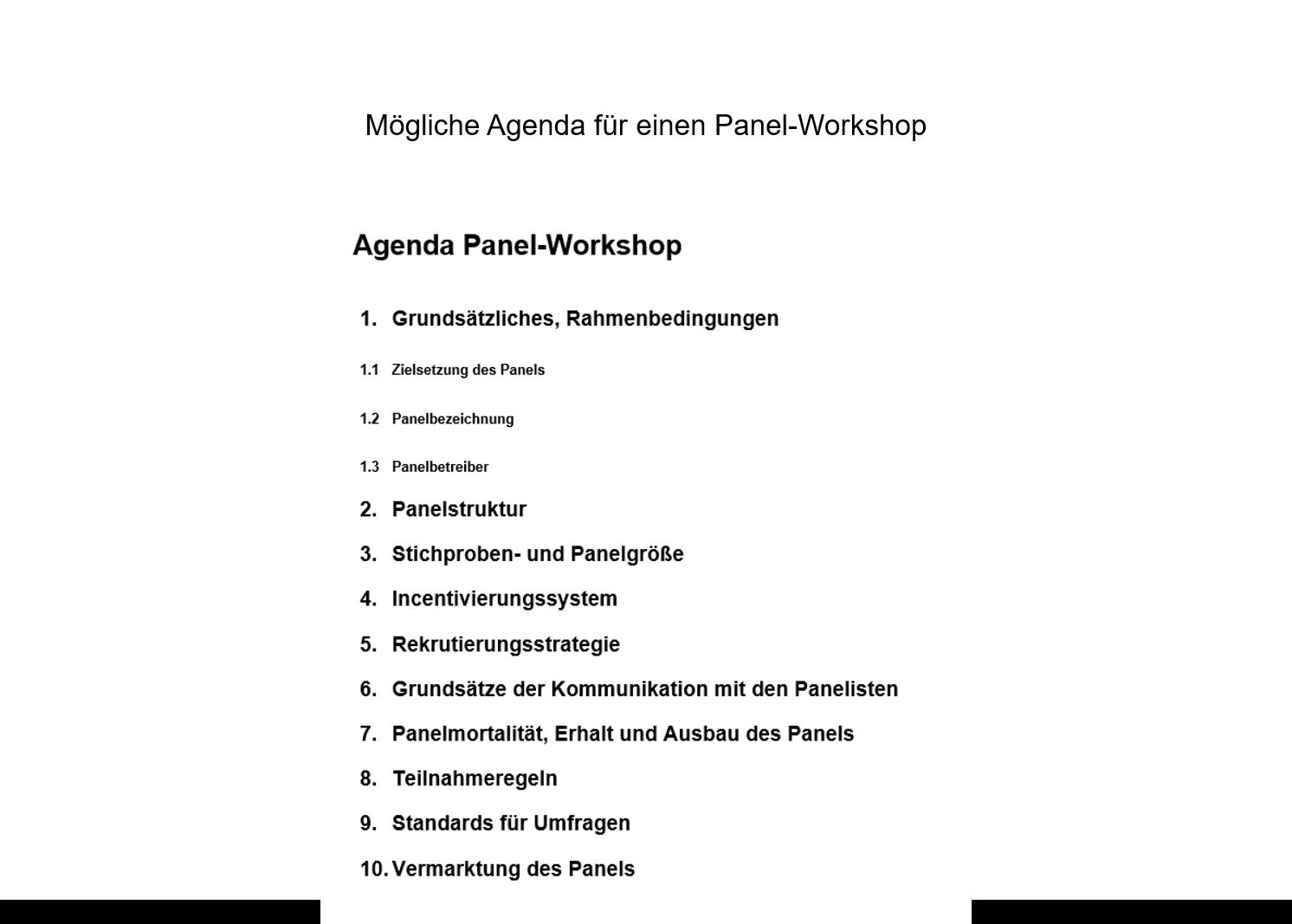 Panelaufbau Agenda Panel-Workshop