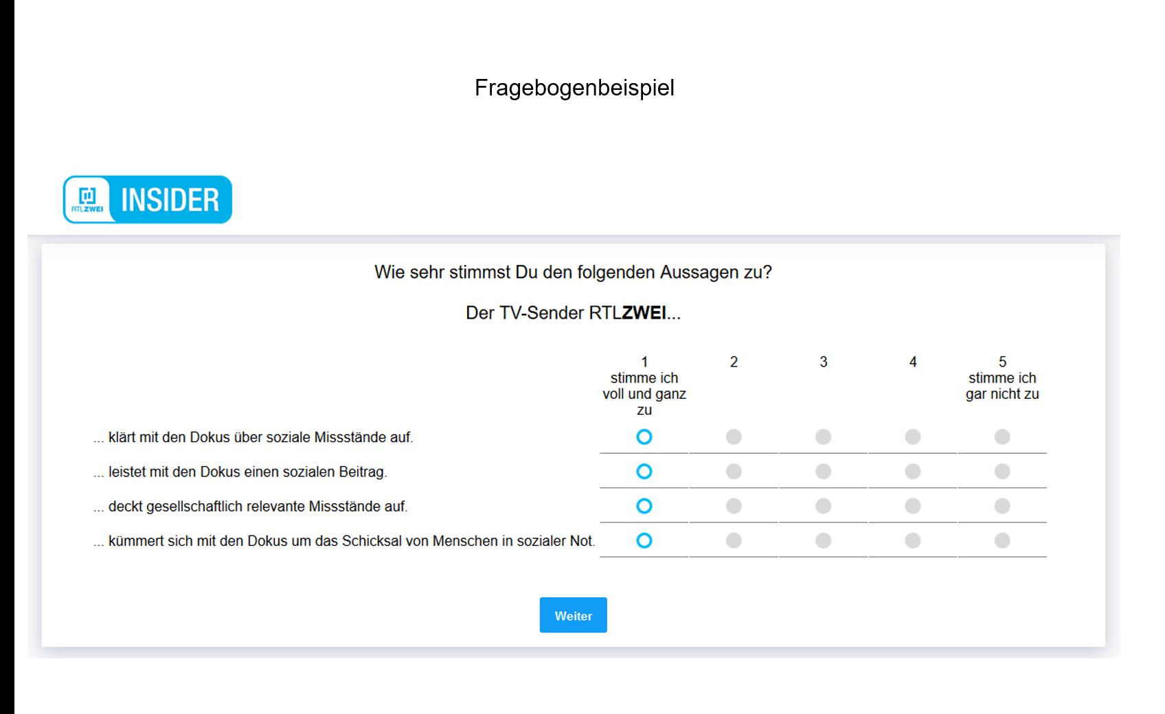 Fragebogenentwicklung Beispiel RTL2 Matrixfrage