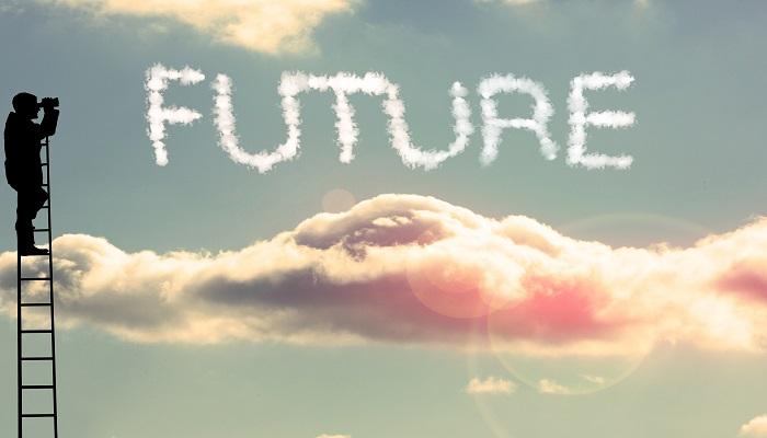 """Mann auf Leiter - Wolkenschriftzug """"Future"""""""