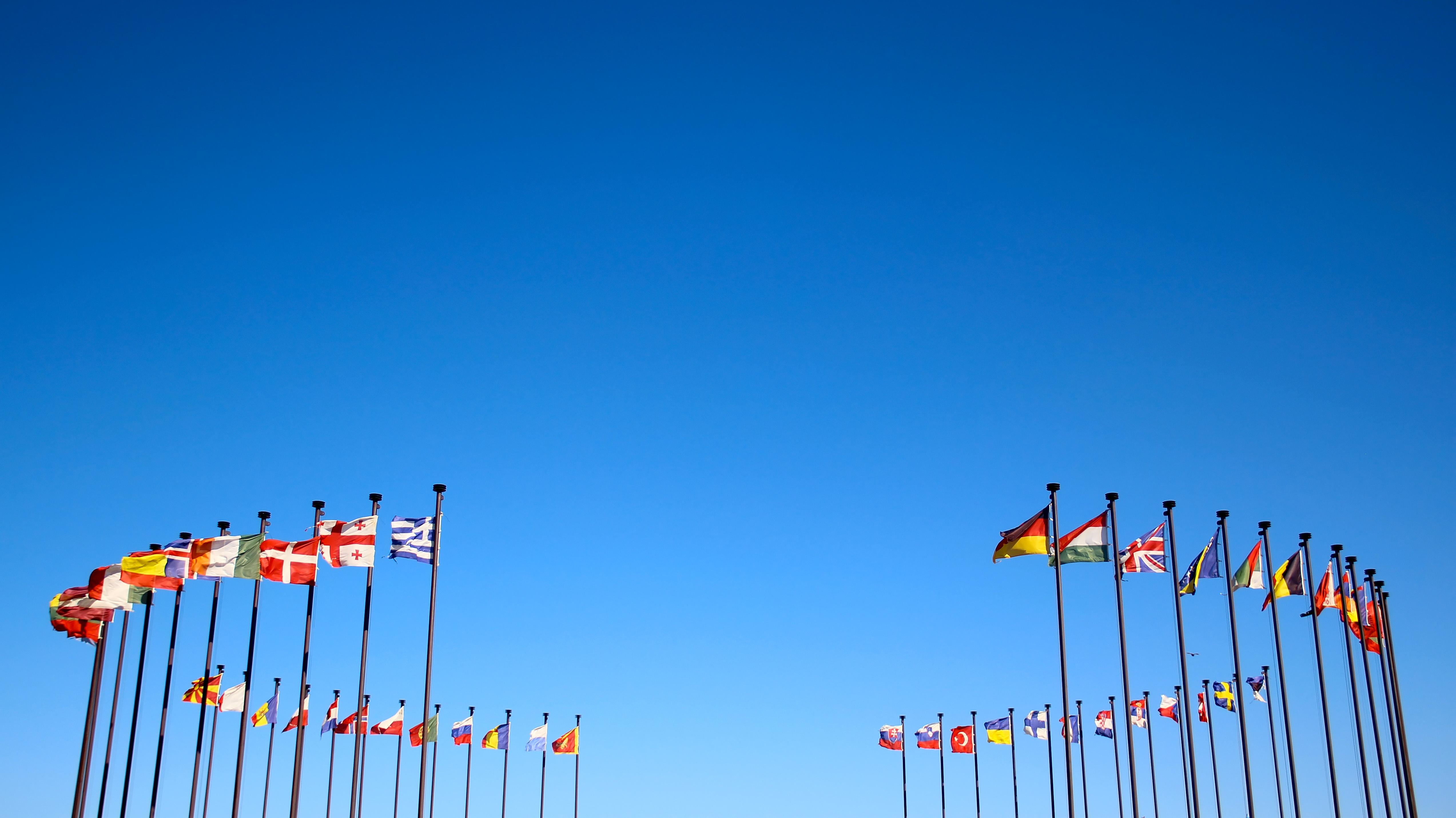 Internationale Flaggen im Kreis