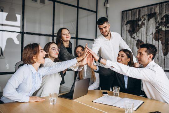 Gruppe klascht ein, Teamwork