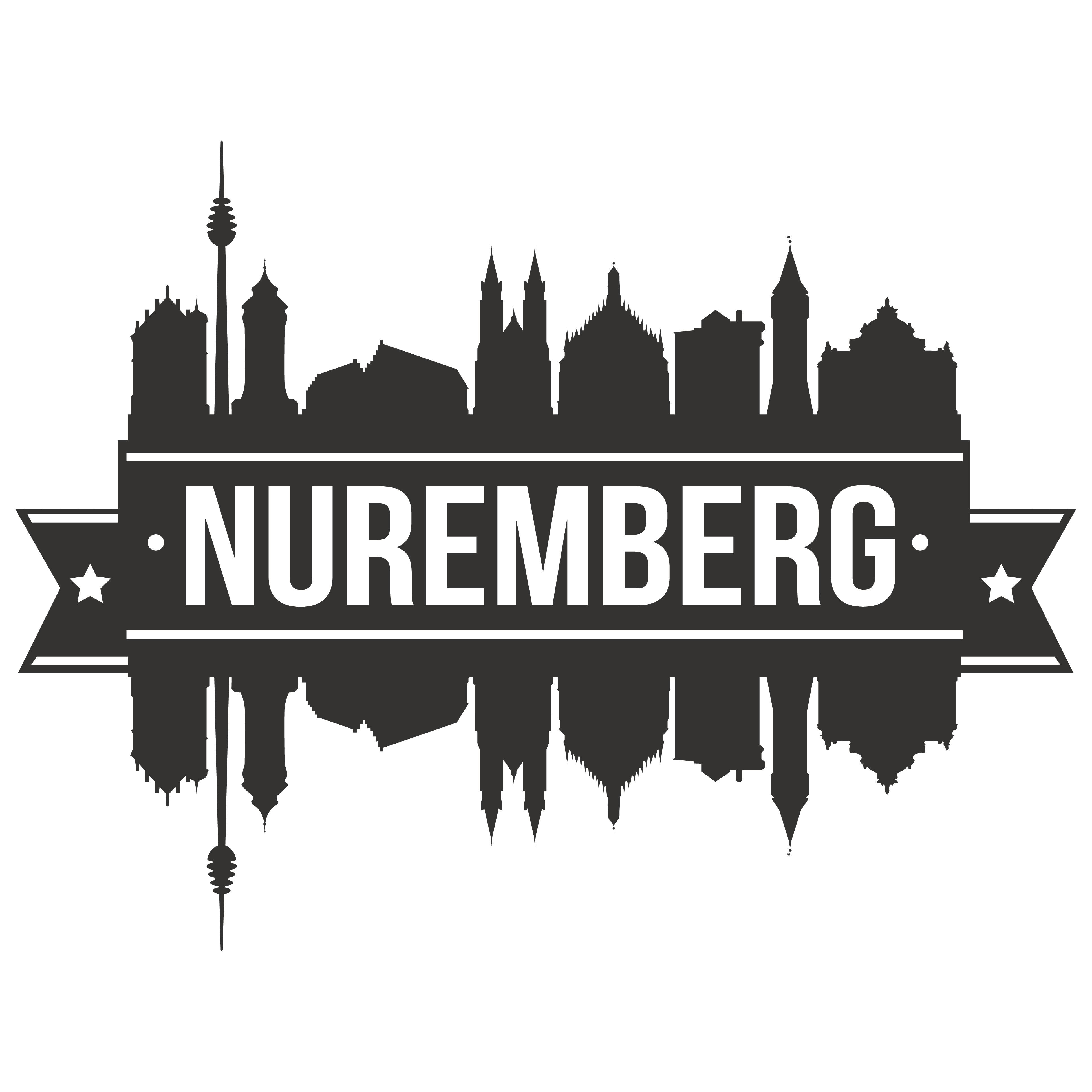 Nürnberg Schriftzug und Schattenumrisse der Sehenswürdigkeiten