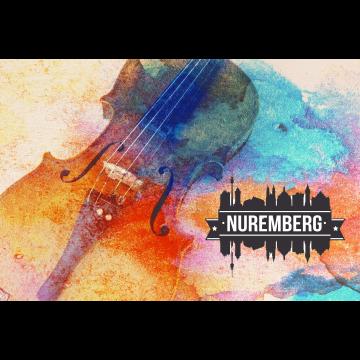 Abstraktes buntes Bild Geige Nuremberg Sticker