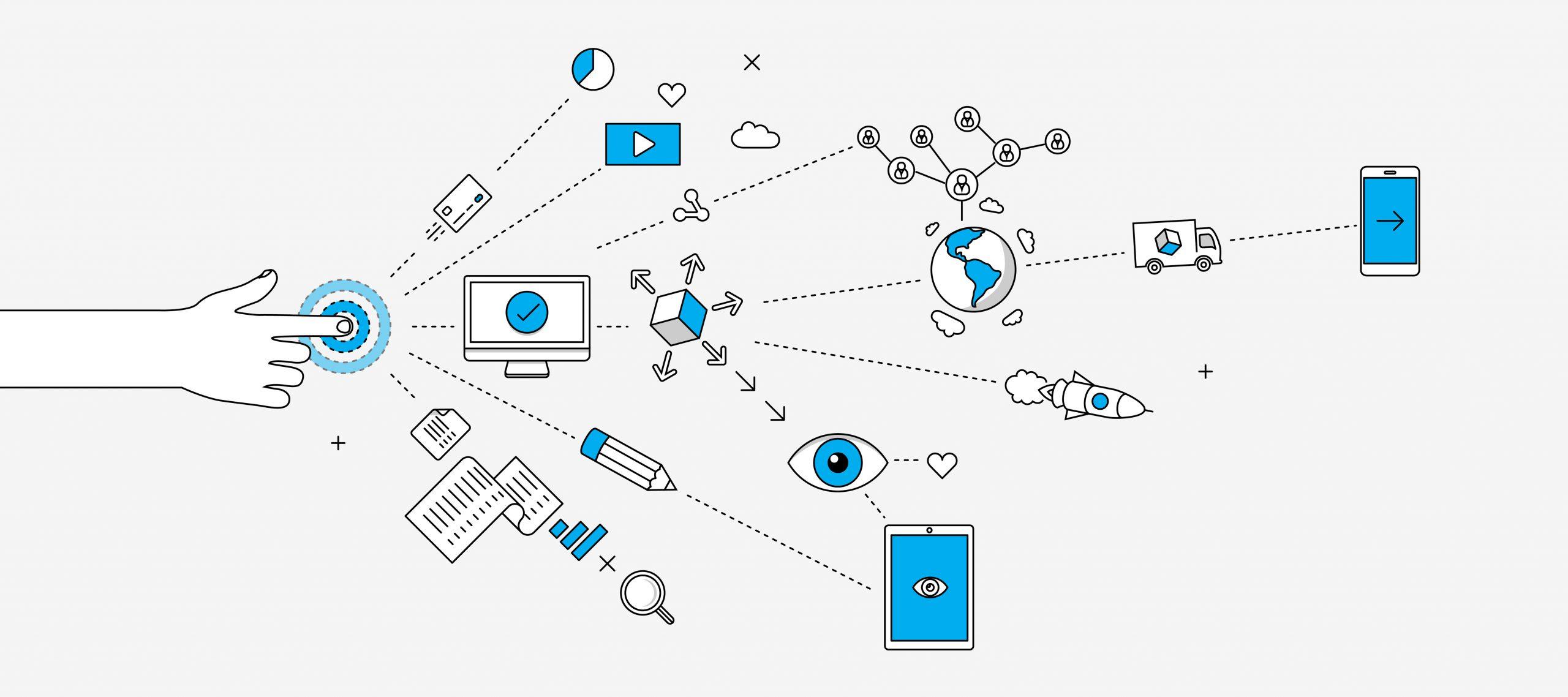 Cartoon Finger Zielscheibe und Icons Prozesskette Motto Umfrage