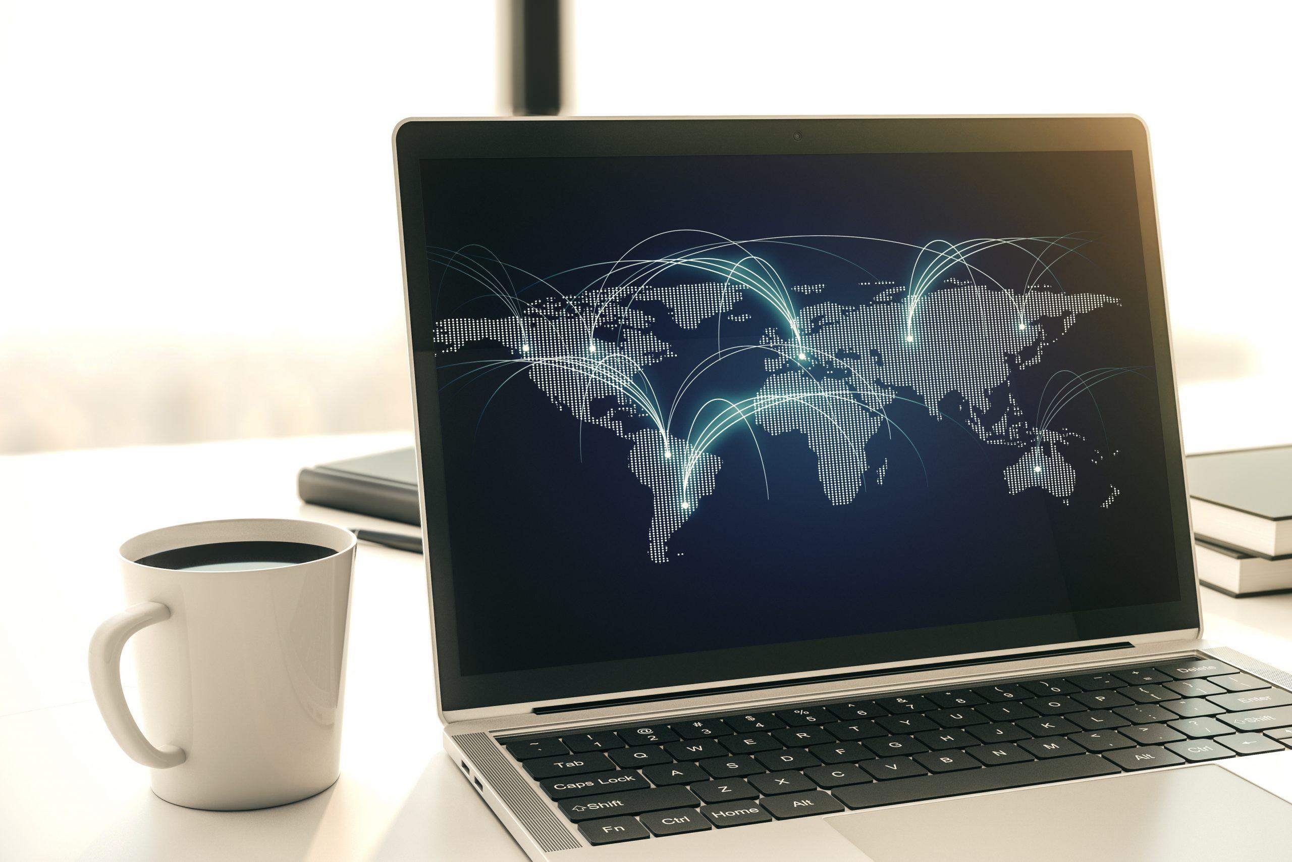 Weltkarte auf Laptop