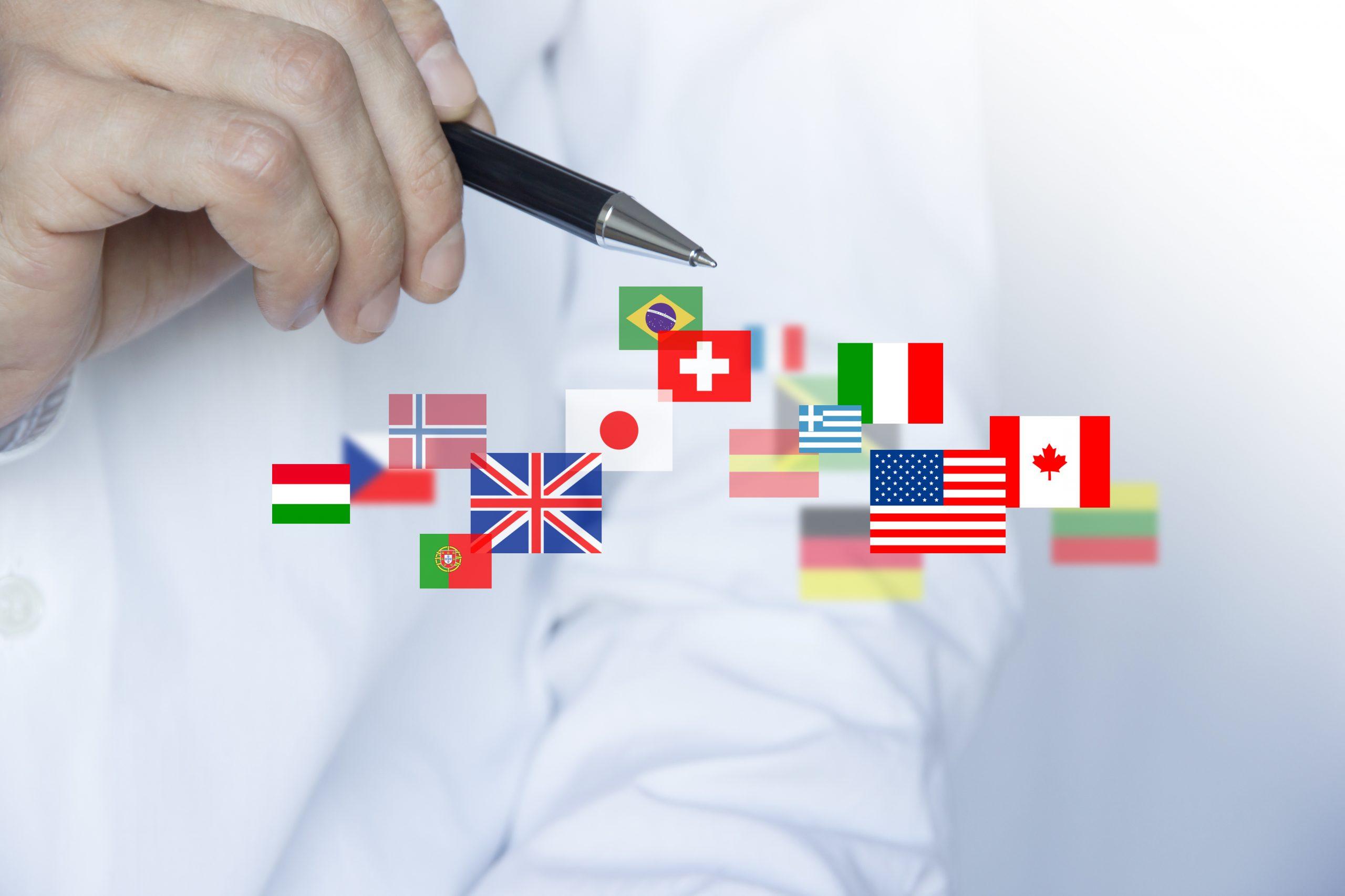 Mann zeig mit einem Stift auf Flaggen