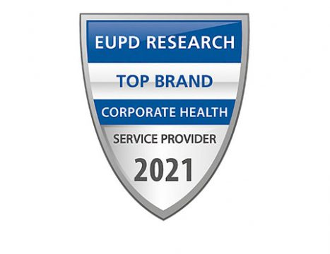 Blau silbernes Coporate Health Siegel von EUPD Research