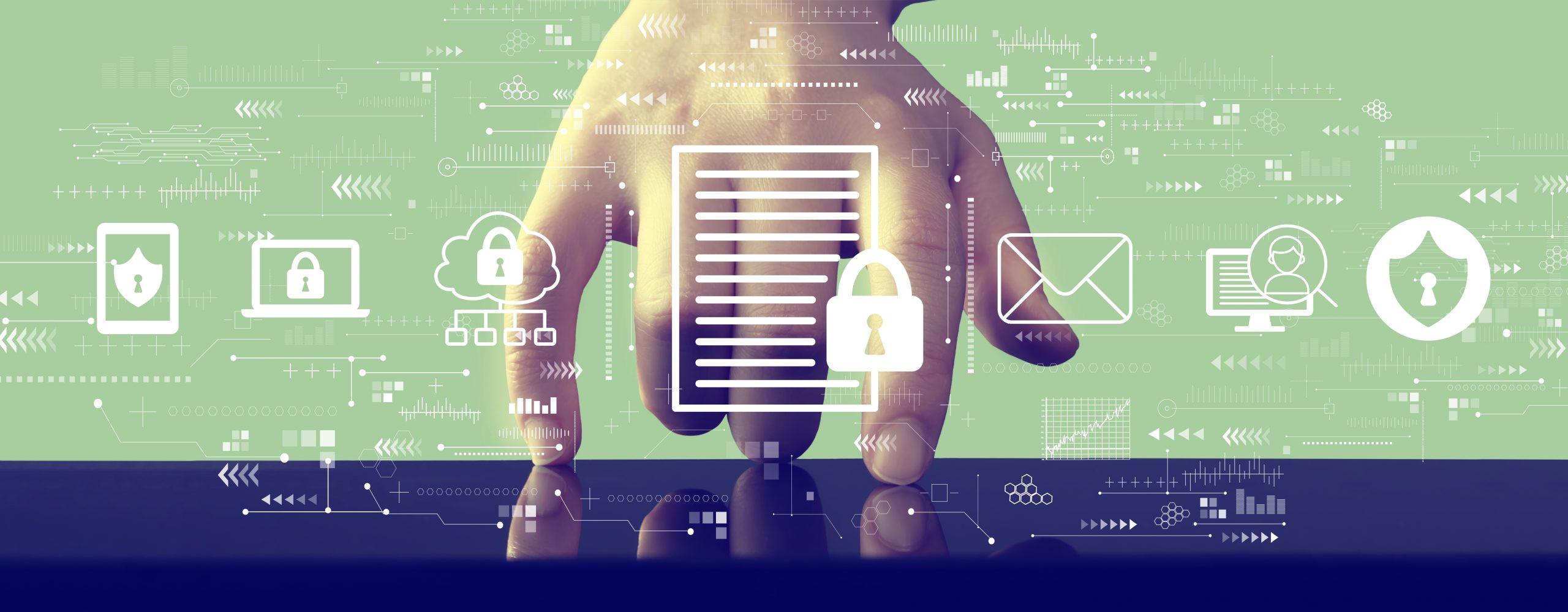 Hand im Hintergrund berührt mit Zeige- und kleiner Finger eine Glasplatte, abstrakte Icon mit dem Thema Datenschutz im Vordergrund