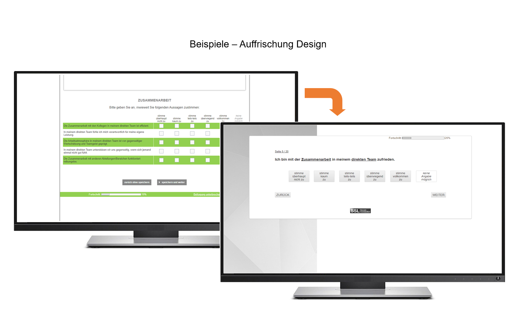 Screenshot mit zwei PCs Projekt TÜV Auffrischung Design
