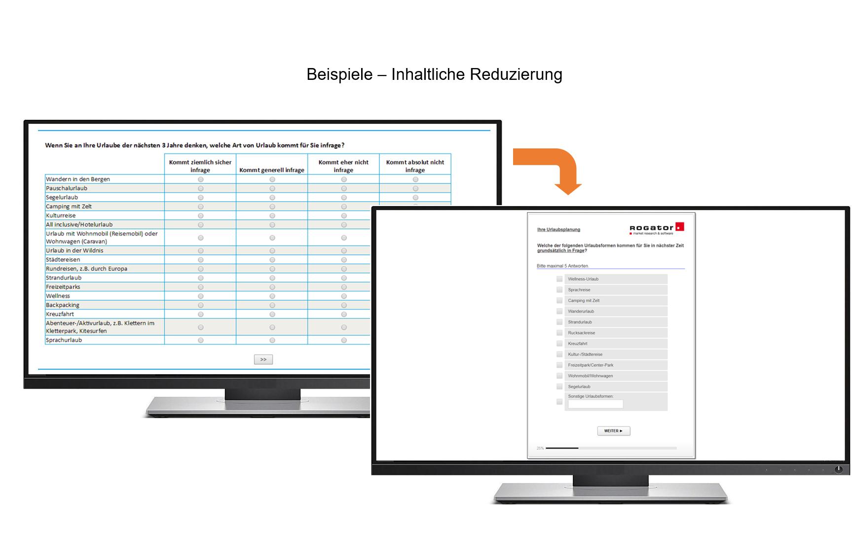 Screenshot mit zwei PCs Projekt TÜV Inhaltliche Reduzierung