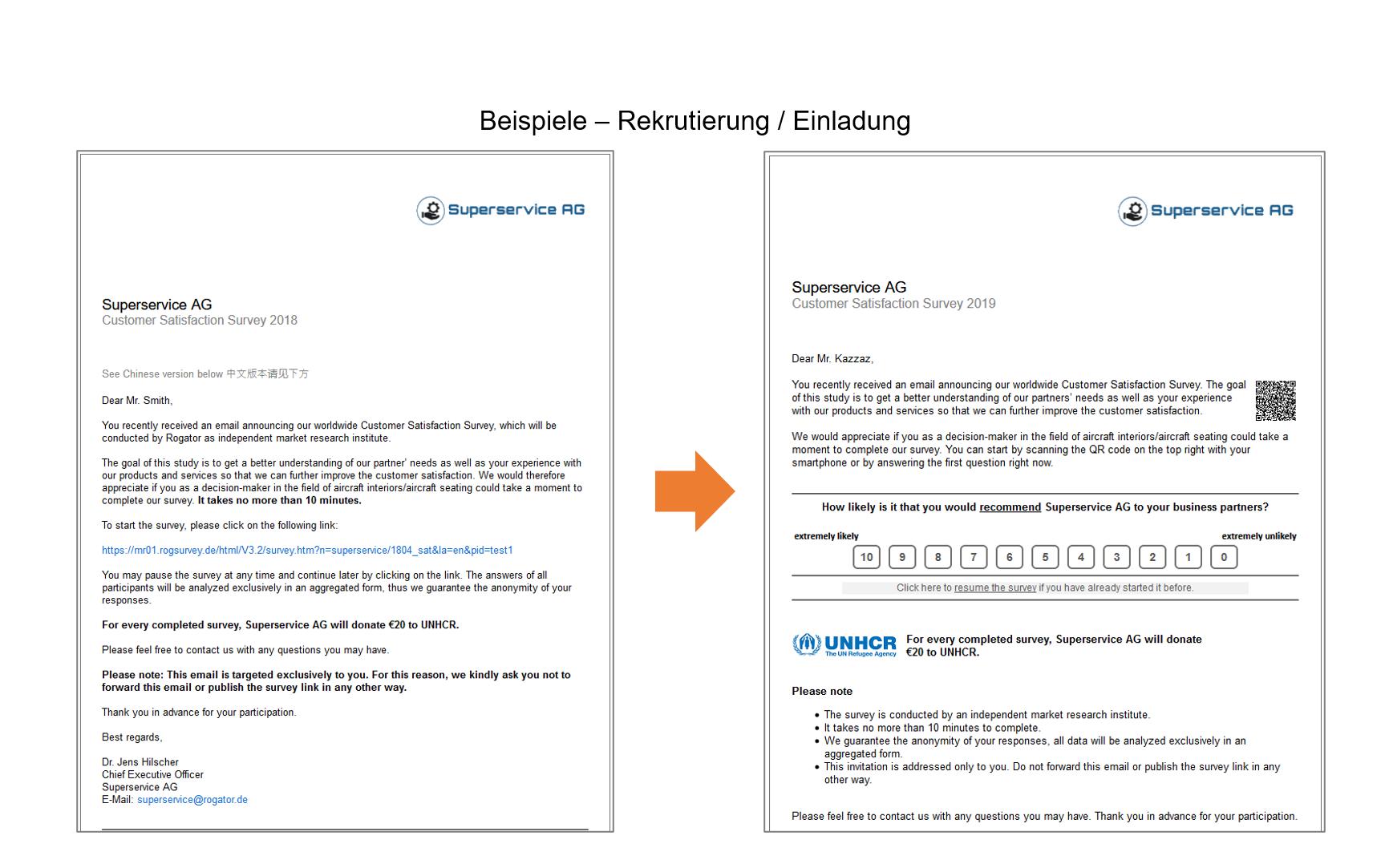 Screenshots zwei Einladungen Projekt TÜV Rekrutierung_Einladung